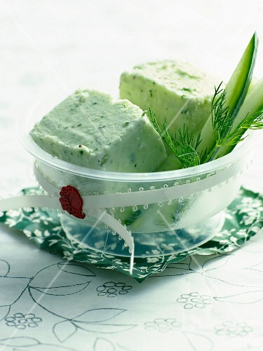 Cucumber yoghurt ice cream with sesame greens