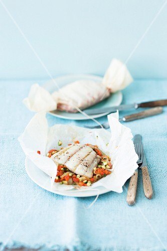 Fish fillet on a bed of ratatouille