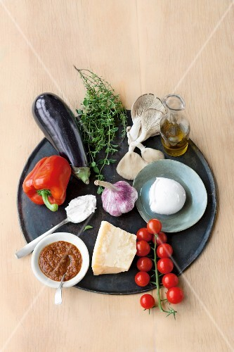 An arrangement of vegetarian groceries