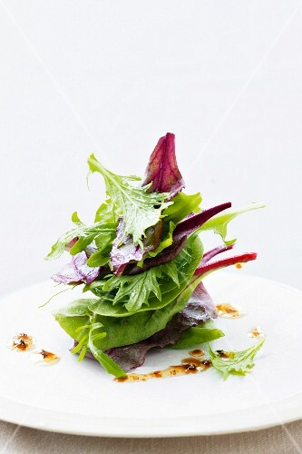 Various types of young lettuce leaves with dressing on a plate
