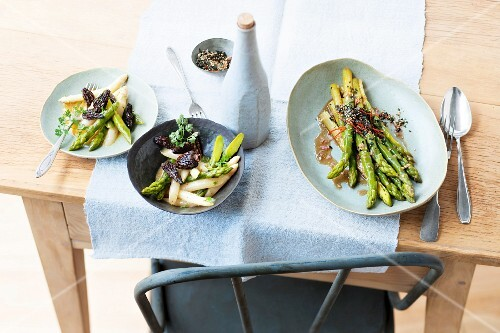 Two different asparagus salads