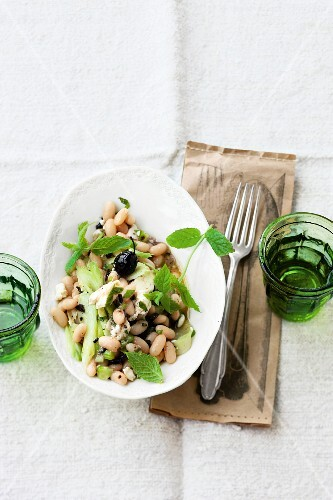 A white bean, celery, olive and mint salad