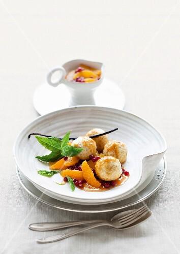 Quark dumplings with orange compote