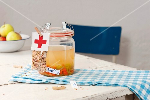 A jar of homemade chicken soup to take to somebody in hospital