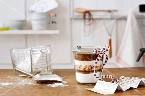 Cake mix layered in a jar as a gift