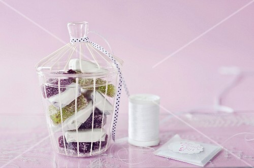 Fruit jelly corners in a decorative glass as a gift