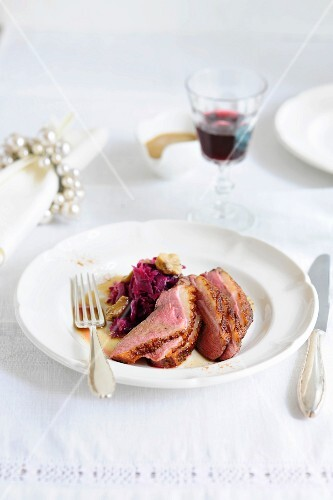 Spiced duck breast with a chestnut and red cabbage medley