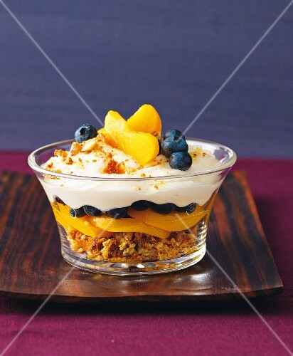 A layered peach dessert