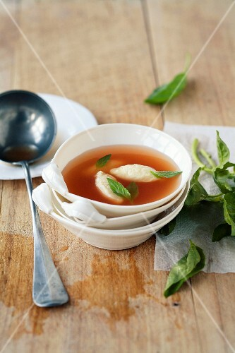 Clear tomato broth with Parmesan dumplings