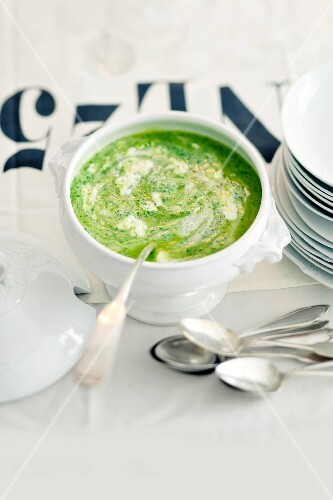 Wild garlic foam soup in a soup bowl