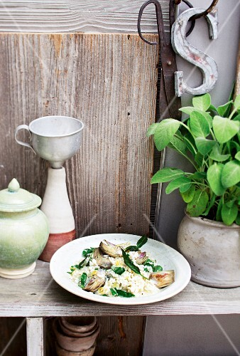 Lemon and sage risotto with artichokes