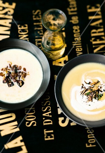 Potato soup with black pudding and potato soup with mushrooms