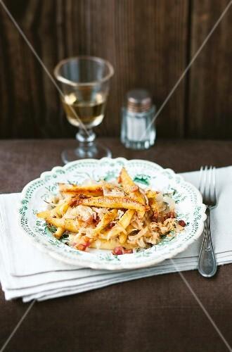 Potato orzo pasta with sauerkraut