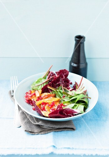 Winter salad with radicchio, pomegranate, chard and clementines