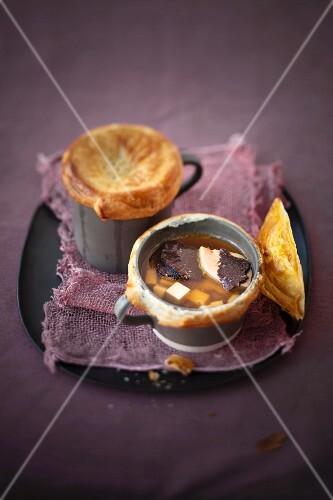 Truffled venison consommeé with custard royale