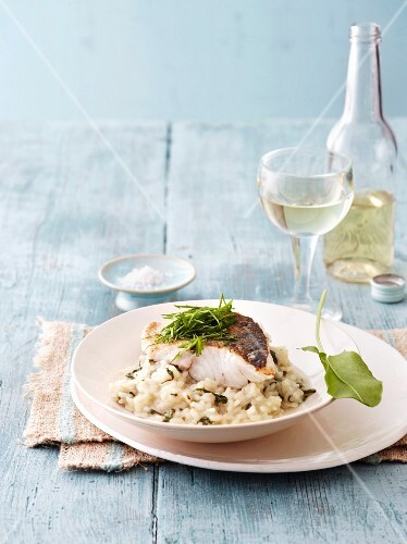 Zander fillet on a bed of risotto with sorrel