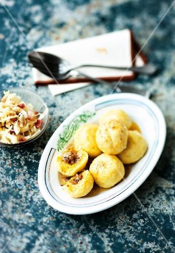 Bacon dumplings with bacon sauerkraut (Austria)