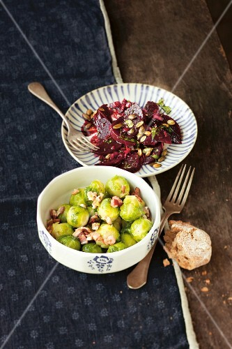Brussels sprouts salad with bacon, and beetroot salad with pumpkin seeds
