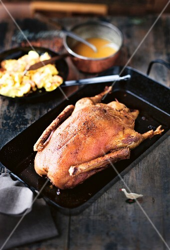 Stuffed roast goose with spicy semolina hash