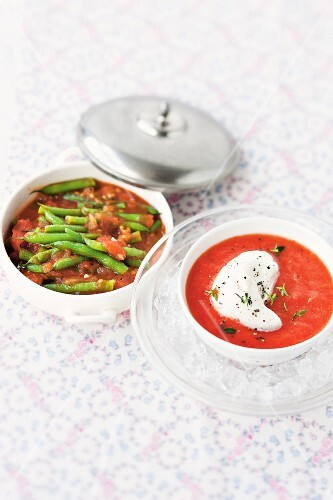 Green beans with tomatoes and cold tomato soup