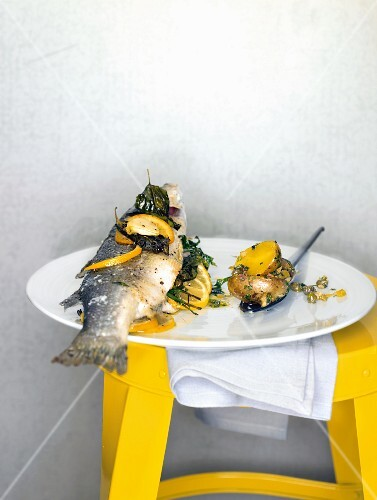 Sea bass with potatoes and salsa verde