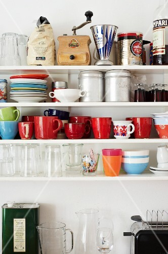 A kitchen shelf in a shared student house