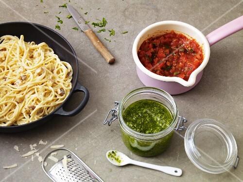 Spaghetti carbonara, arrabibata sauce and pesto