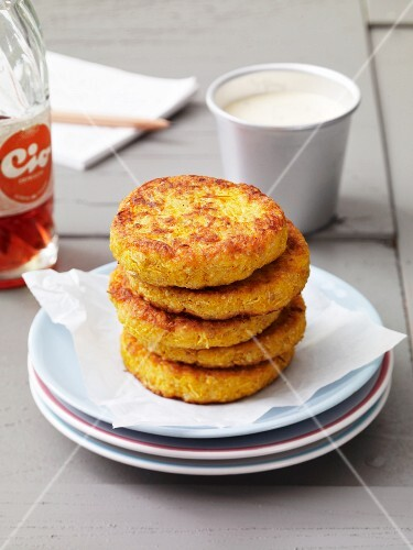 Millet fritters with a chive dip