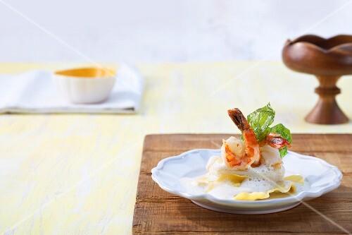 Turbot with prawns on lobster ravioli (Portugal)
