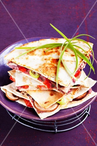 Quesadillas with bean mousse