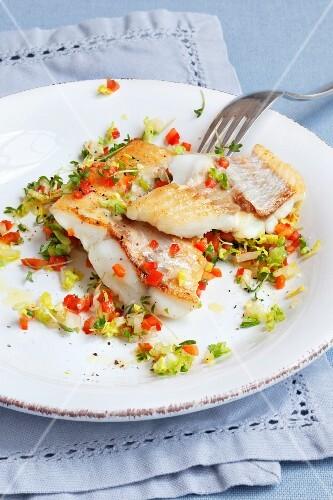 Redfish with salad salsa