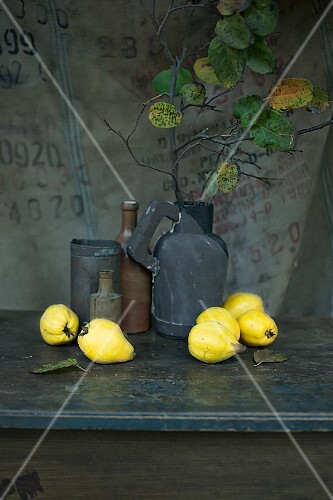 An arrangement of quinces and old containers