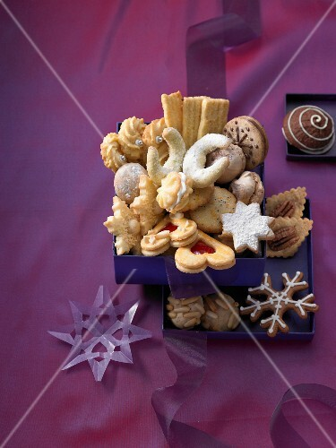 A box of Christmas biscuits