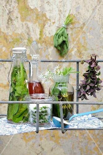 Herbs being preserved