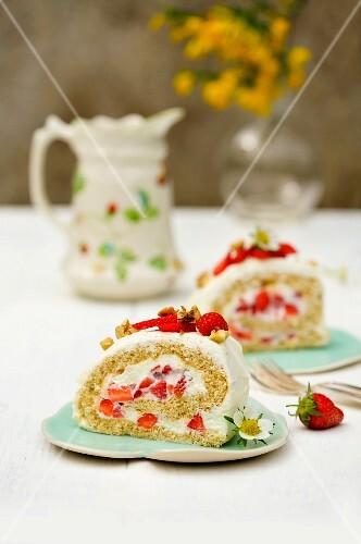 Spelt Swiss roll with strawberries