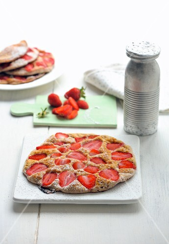 Pancake filled with strawberries