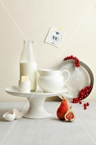 An arrangement of baking ingredients for fruit cake