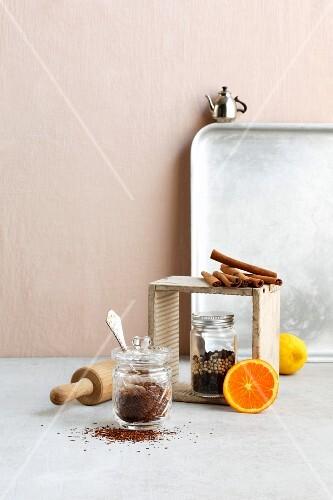 An arrangement of baking ingredients and utensils