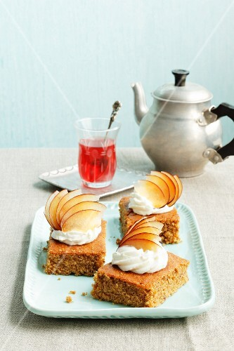 Damson mousse slices topped with quark