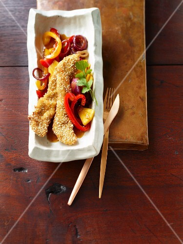Fried duck with a sweet and sour sauce