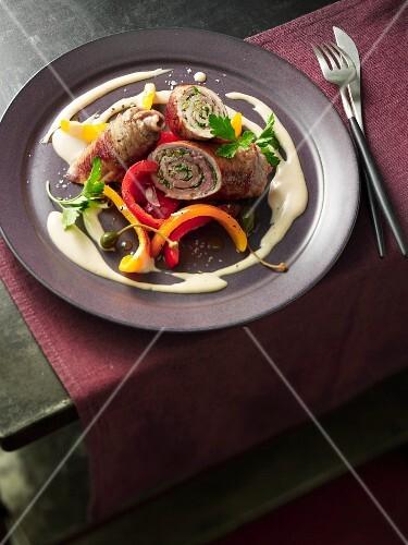 Involtini tonnato with antipasti peppers