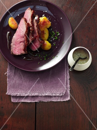 Ginger-glazed roast beef with wasabi remoulade