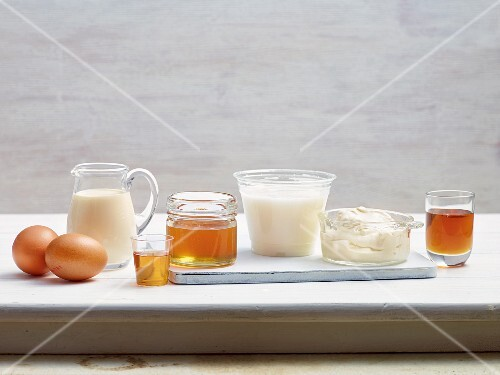 Various dairy products and sweeteners