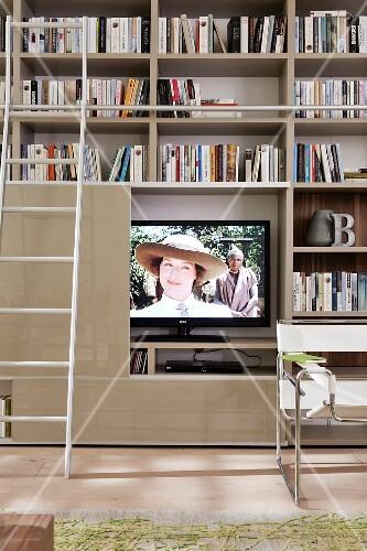 Bibliothek, Regalwand, TV Möbel, Leiter, Bücherregal, Regal, Bücher