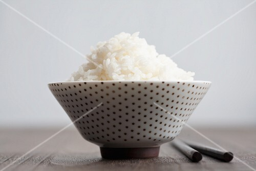 White Rice in a Green Bowl