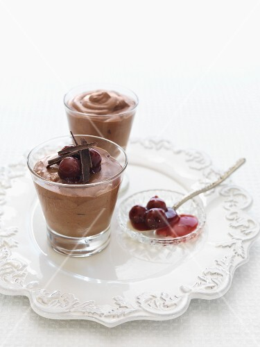 Mousse au chocolat with cherries