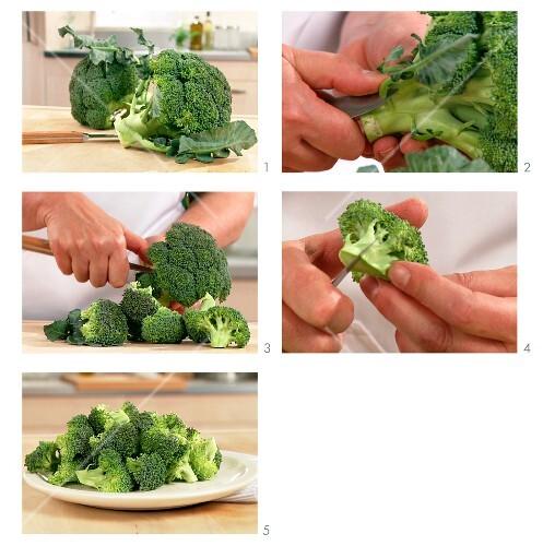Broccoli being broken into florets