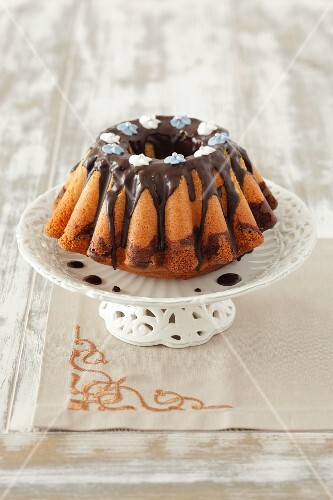 A marble cake with chocolate glaze