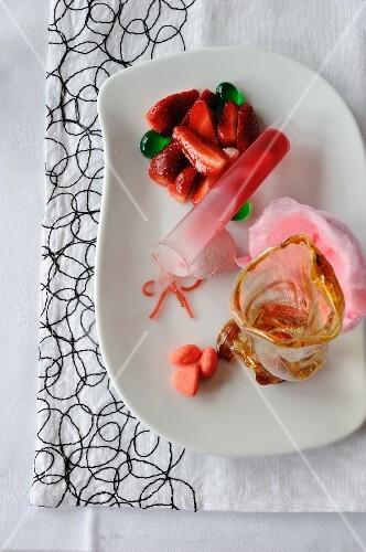 Strawberry dessert - molecular gastronomy
