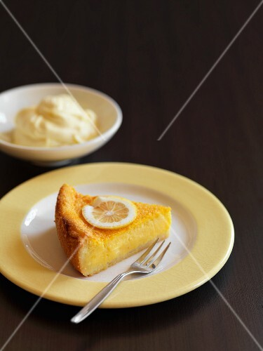 A slice of gluten-free lemon tart